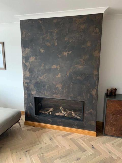 Venetian Plastering Glasgow - Venetian plaster bronze fireplace - KMac Plasterers
