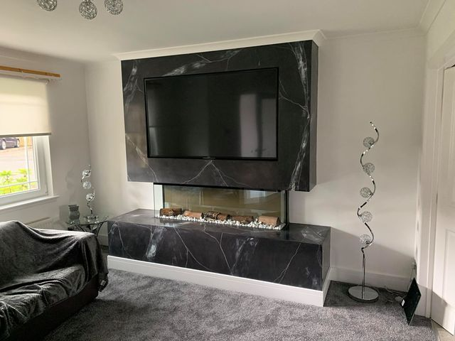 Venetian Plastering Glasgow - Venetian plaster luxury tv wall - KMac Plasterers