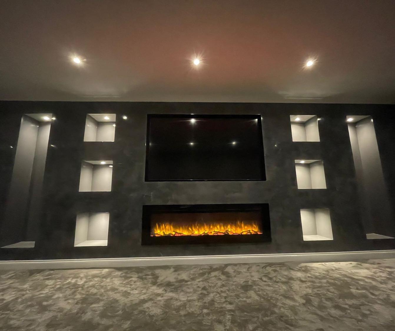 Kmac Venetian Plasterers - Venetian Plastering TV feature wall at night - Glasgow Scotland