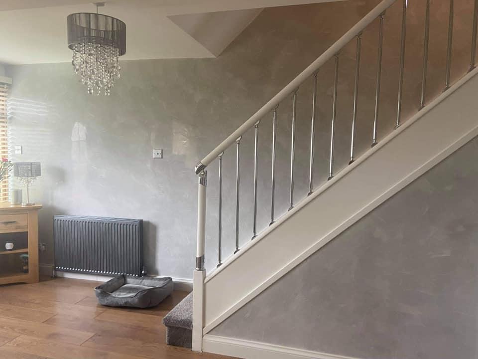 Kmac Venetian Plasterers - bespoke light venetian plaster Staircase Glasgow Scotland